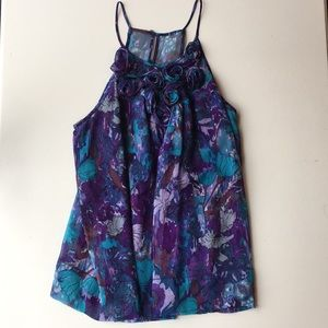 REBECCA TAYLOR floral top SILK lining! Size 8